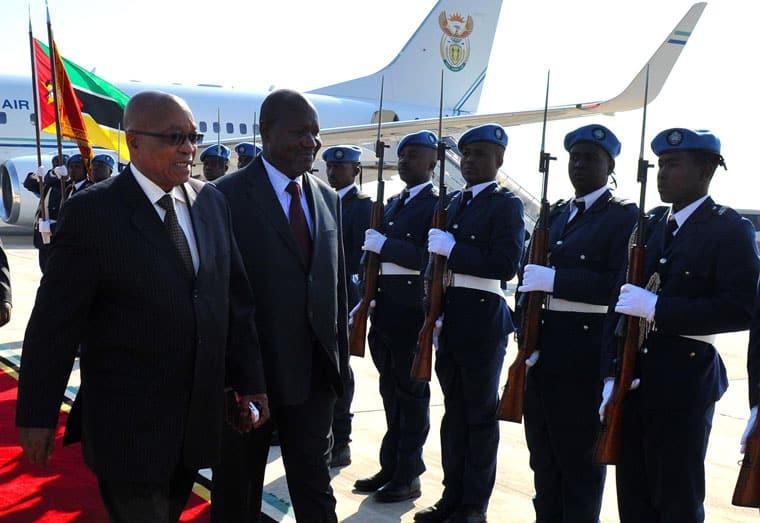 President Zuma arrives in Mozambique